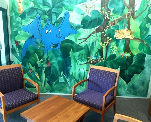Jungle mural in CID audiology waiting area
