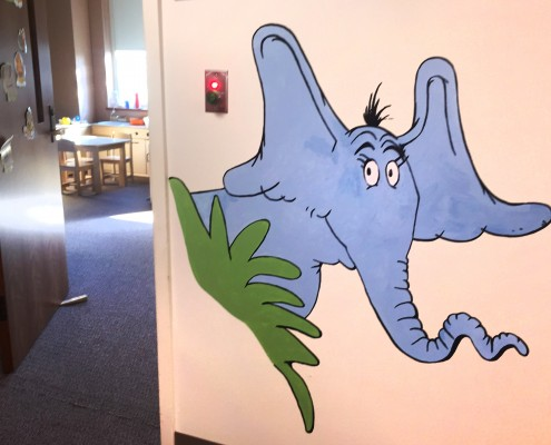 elephant mural outside CID toddler class